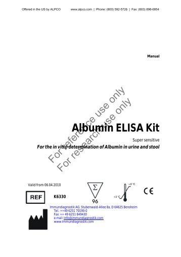 Albumin ELISA Kit - ALPCO Diagnostics