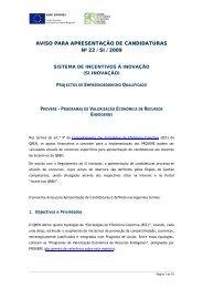 Aviso para Apresentação de Candidaturas n.º 22/SI/2009 - Qren