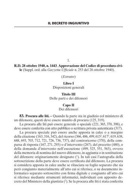 IL DECRETO INGIUNTIVO 1. R.D. 28 ottobre 1940, n ... - La Tribuna