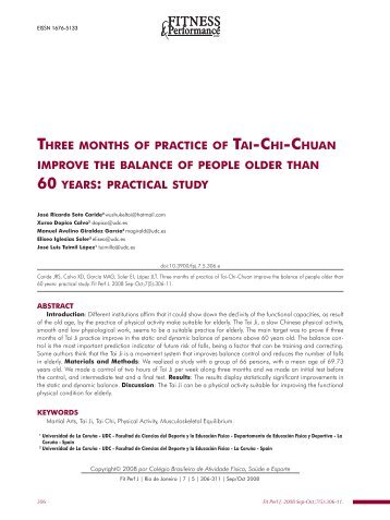 three months of practice of tai-chi-chuan improve the balance of ...