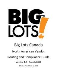 Big Lots Canada North American Vendor Guide v1.0