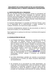 Reglamento Acumulación de Millas AAdvantage - Credomatic