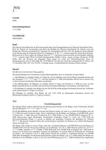 Gericht Entscheidungsdatum Geschäftszahl Kopf Spruch Text