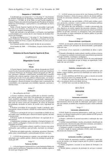 Estatutos - Escola Superior Agrária de Elvas