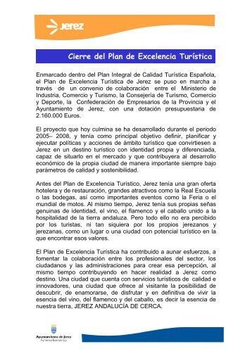 Cierre del Plan de Excelencia Turística - Ayuntamiento de Jerez