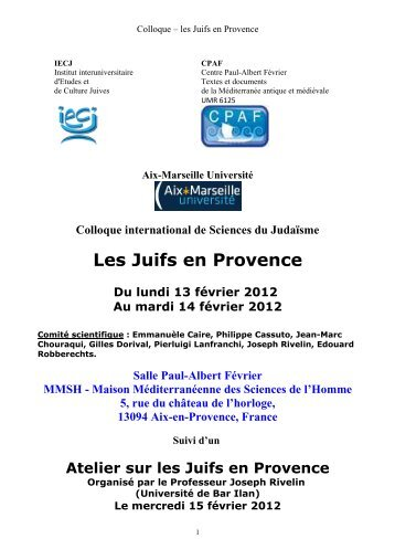 voir le programme - Commission française des archives juives (CFAJ)