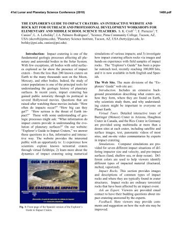 the explorer's guide to impact craters - Lunar and Planetary Institute