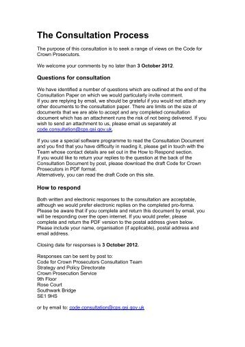 The Consultation Process - Crown Prosecution Service