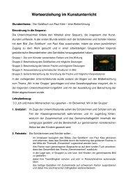 Werteerziehung im Kunstunterricht - Schulen in Oberfranken