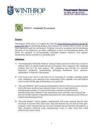Sustainable Procurement Policy - Winthrop University