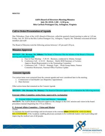 Call to Order/Presentation of Agenda Minutes Approval Consent ...