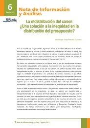 Nota de Información y Análisis # 6: La redistribución del canon