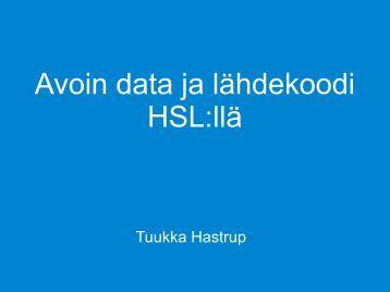 Avoin data ja lähdekoodi HSL:llä - Forum Virium Helsinki