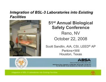 integration of bsl-3 laboratories into existing facilities - ABSA Annual ...