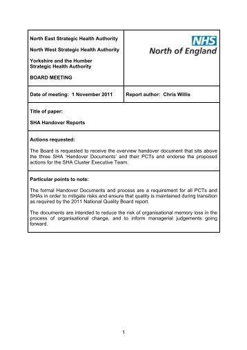 SHA Handover Reports - NHS North West