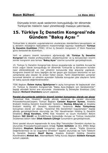 """15. Türkiye İç Denetim Kongresi'nde Gündem """"Bakış Açısı """" - TİDE"""