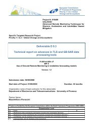 Technical report on advances in TLS and GB-SAR data processing ...