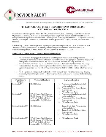 FBI Background Check Requirements - Community Care Behavioral ...