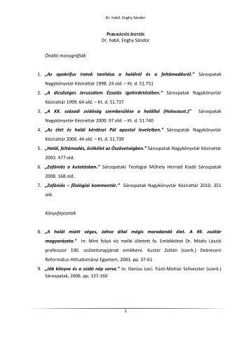 Publikációs jegyzék - Sárospataki Református Teológiai Akadémia
