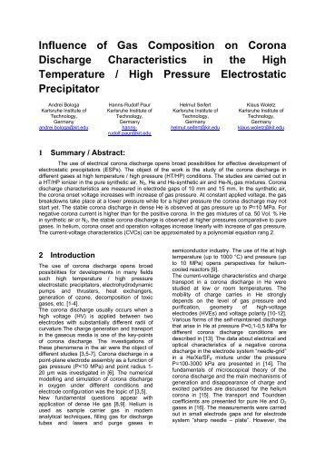 Influence of Gas Composition on Corona Discharge ... - isesp