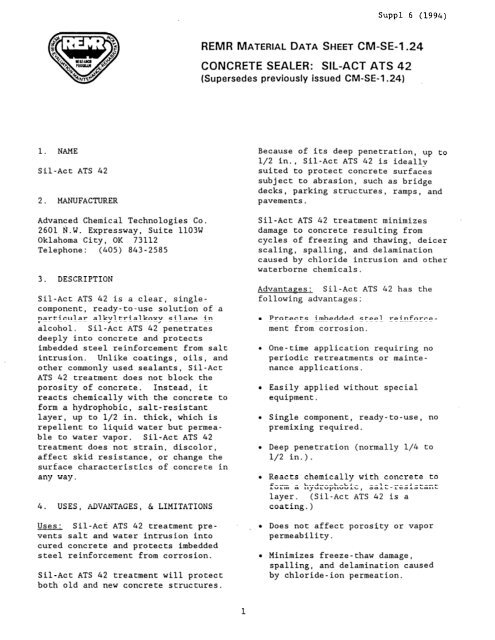 CONCRETE SEALER: SIL-ACT ATS 42 - WRI