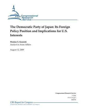 The Democratic Party of Japan: Its Foreign Policy Position and ...