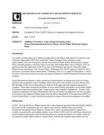 Frasca International/Soccer Planet Properties - City of Urbana
