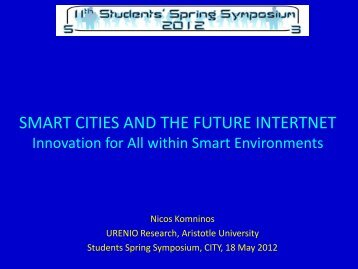 Smart Cities and Future Internet-Innovation for All - Urenio