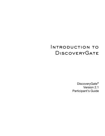 Introduction to DiscoveryGate