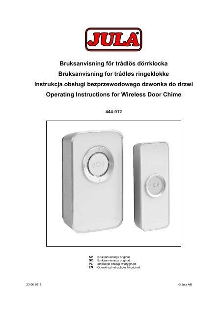Bruksanvisning för trådlös dörrklocka Bruksanvisning for ... - Jula