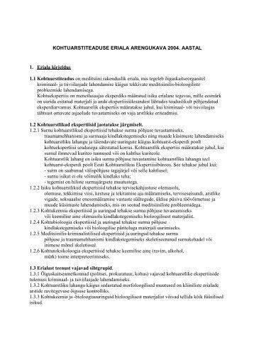 Kohtuarstiteaduse eriala arengukava 2004.a seisuga