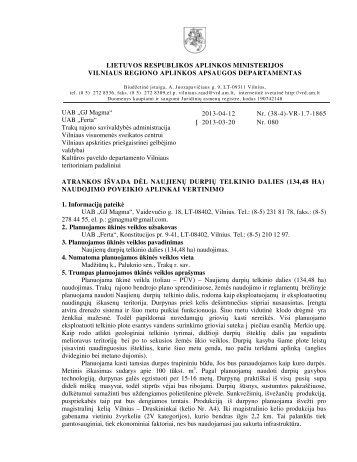 (134,48 ha) naudojimo poveikio aplinkai - Vilniaus regiono aplinkos ...