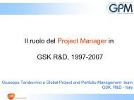 Il ruolo del Project Manager in GSK R&D, 1997-2007 - PMI-NIC