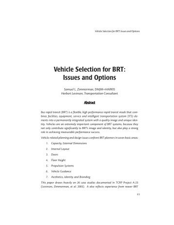 Vehicle Selection for BRT: Issues and Options - Bus Rapid Transit ...