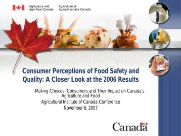 Consumer Perceptions of Food Safety and Quality - Agricultural ...