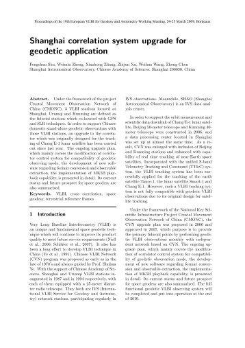 Shanghai correlation system upgrade for geodetic application