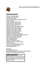 Oriole Lane School 2013-2014 Supply List