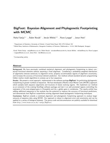 BigFoot: Bayesian Alignment and Phylogenetic Footprinting with ...