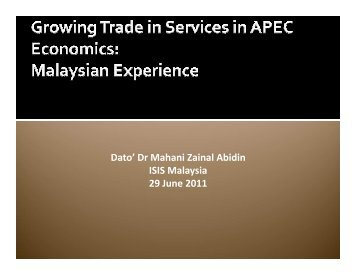 Growing Trade in Services in APEC Economics - ISIS Malaysia