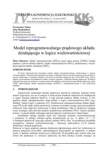 Model reprogramowalnego prądowego układu ... - kik - Koszalin
