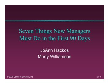 Seven Things New Managers Must Do in the - Center for Information ...