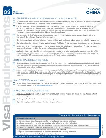 Visa Requirements - G3 Visas & Passports
