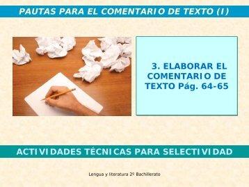 Elaborar el comentario de texto (págs. 64-65) - Mallorca