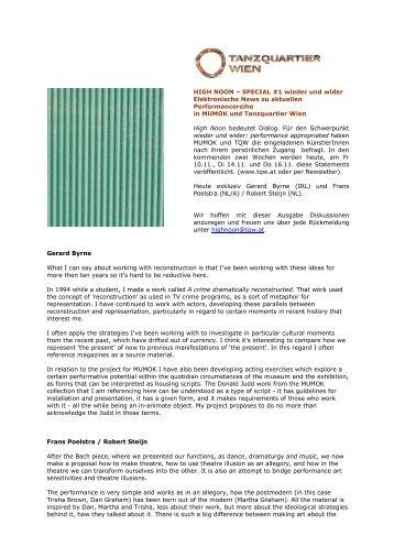 Special Edition 01 - Restart am Tanzquartier Wien