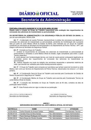 Portaria Conjunta SAEB - SSP nº 01 de 26 de abril de 2006
