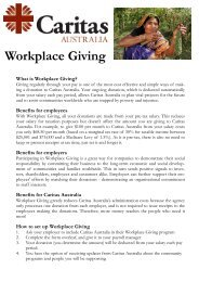 Join the workplace giving program - Caritas Australia