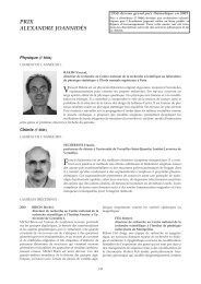 Prix Alexandre Joannidès : lauréats - Prix de l'Académie des sciences