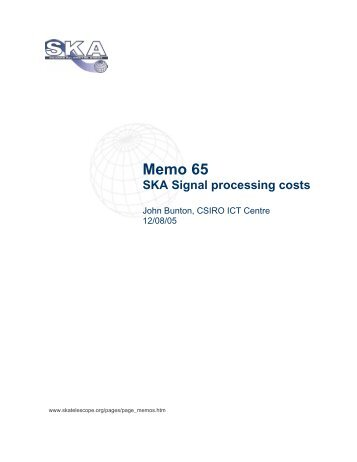 Memo 65 SKA Signal processing costs - The Square Kilometre Array