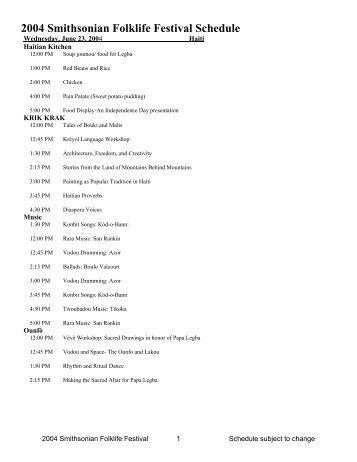 2004 Smithsonian Folklife Festival Schedule - Smithsonian Center ...