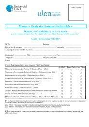 Dossier candidature Master 1 - Université du Littoral-Côte-d'Opale